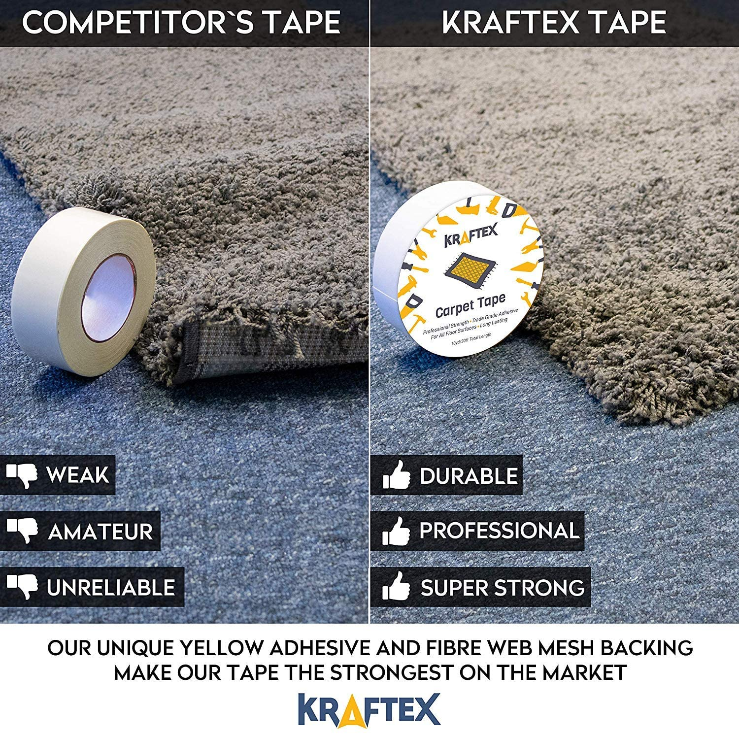 Kraftex Double Sided Unique Best Adhesive Carpet Tape